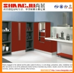 Red UV kitchen cabinet with simple design